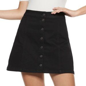 15 Black Denim Stretchy Mini Button Skirt Spring